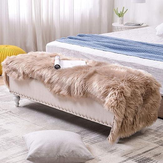 Fluffy Sheepskin Window Area Rug Soft Faux Fur Shaggy Bedroom Bedside Floor Mats