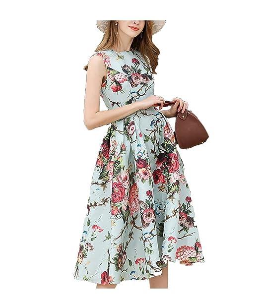 Oudan Vestido de Mujer Vintage Vestido Largo sin Mangas de Audrey Año 1950 Vestido de Noche