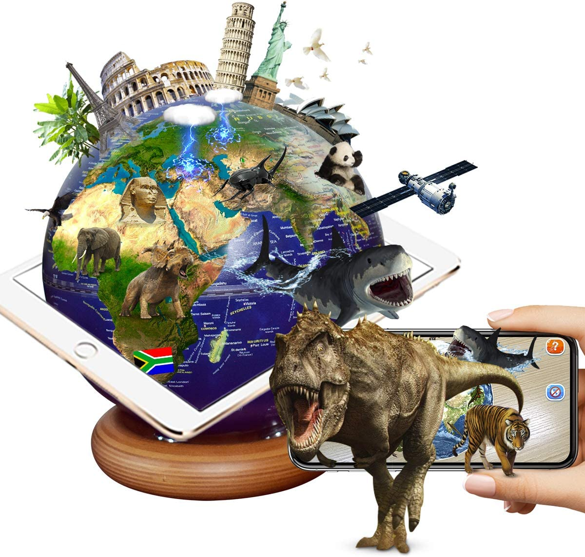 FUN GLOBE 3 in 1 Illuminated AR Explore The World Globe Desktop Decoration Geographic Interactive Earth Globes Office Supplies Holiday Gift with Adjustable LED & Light Music for Kids & Adult (Navy-2)