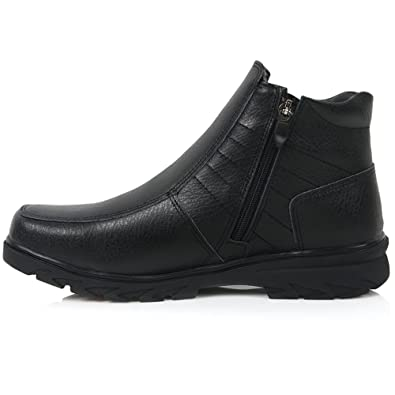 New Brown Mens Winter Comfort Zip Ankle Boots Snow Warm Leather Shoes