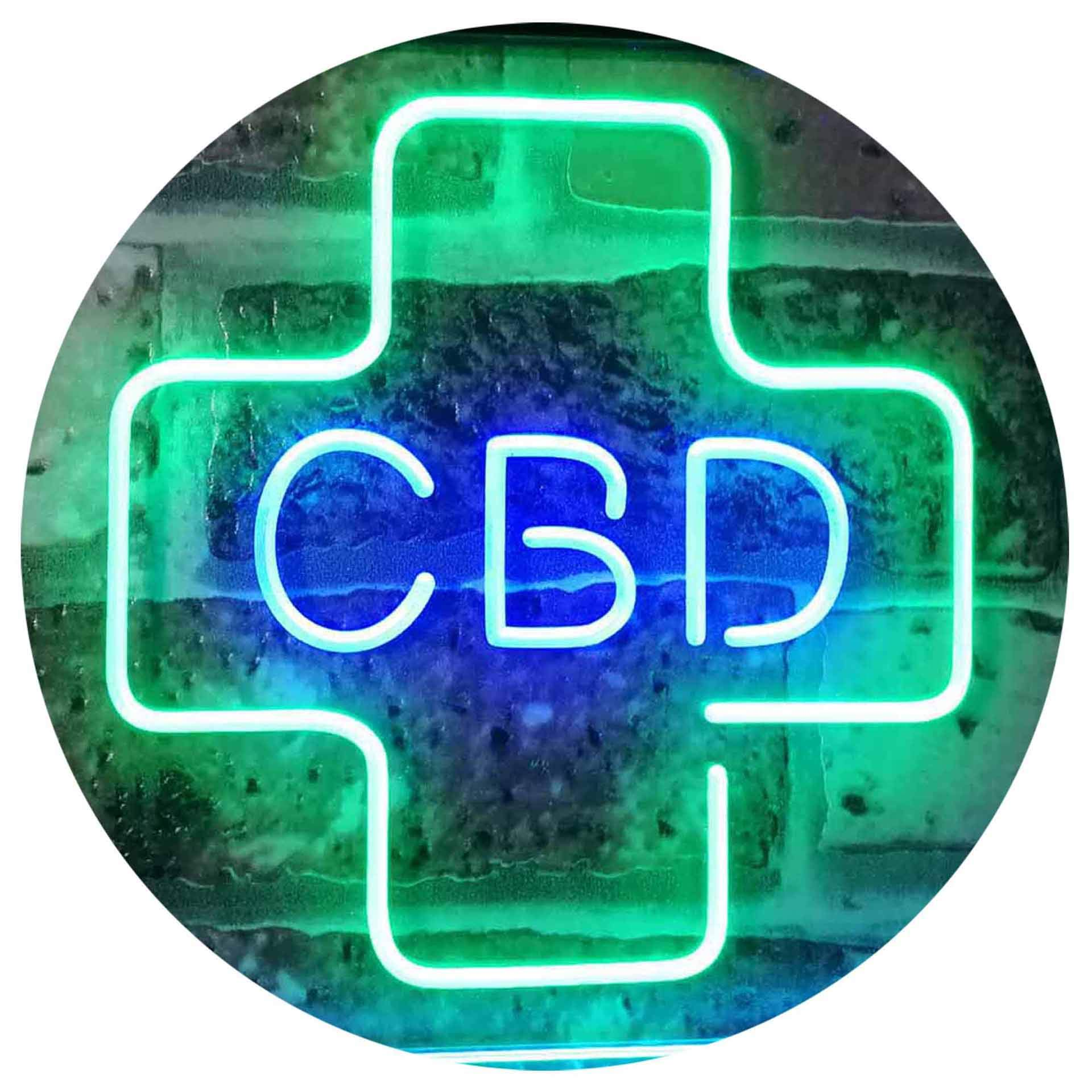 ADVPRO CBD Sold Here Medical Cross Indoor Dual Color LED Neon Sign Green & Blue 16 x 12 Inches st6s43-i3083-gb