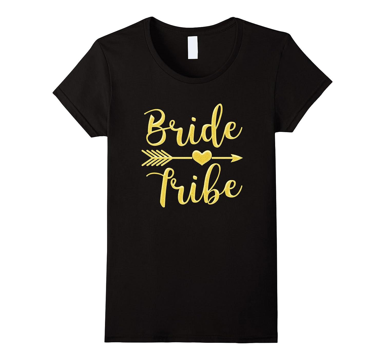 Women's Bride Tribe Arrow Heart Gold Glitter T shirts Bachelorette-BN