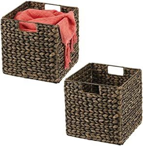 mDesign Natural Woven Hyacinth Closet Storage Organizer Basket Bin - Collapsible - for Cube Furniture Shelving in Closet, Bedroom, Bathroom, Entryway, Office - 10.5 Inches High, 2 Pack - Black Wash