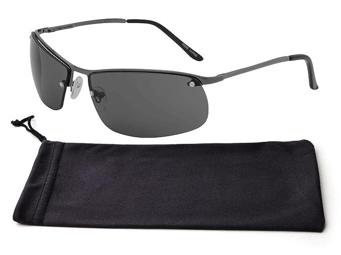 Amazoncom Best Black Thin Wire Metal Frame Smoke Rimless Lens Uv