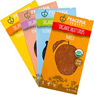 product image for Peaceful Fruits 100% Fruit Strips (Variety pack (blueberry, mango, peach, pineapple), 12 count)