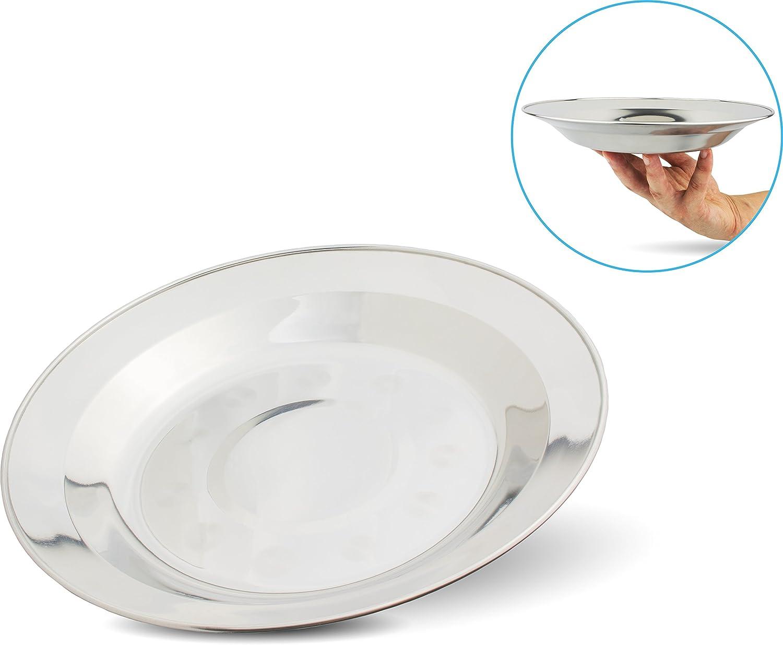 MFH acero inoxidable plato camping platos de platos camping platos Ø 22 cm