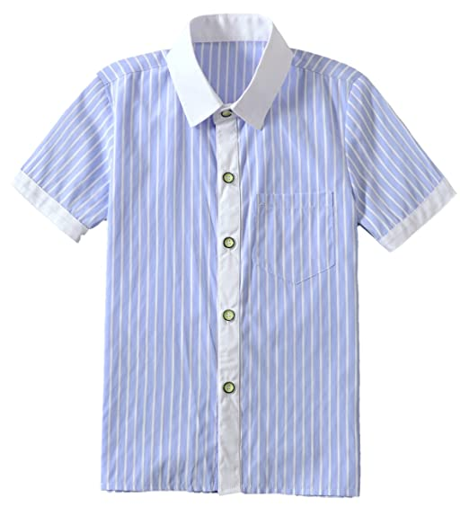 e01d2855084 Yuanlu Kids Stripe Blue Short Sleeve Shirt Button up Shirt for Toddler Size  2T