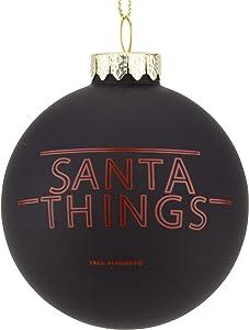 Tree Buddees Santa Things - Funny Stranger Things Parody Glass Christmas Ornament