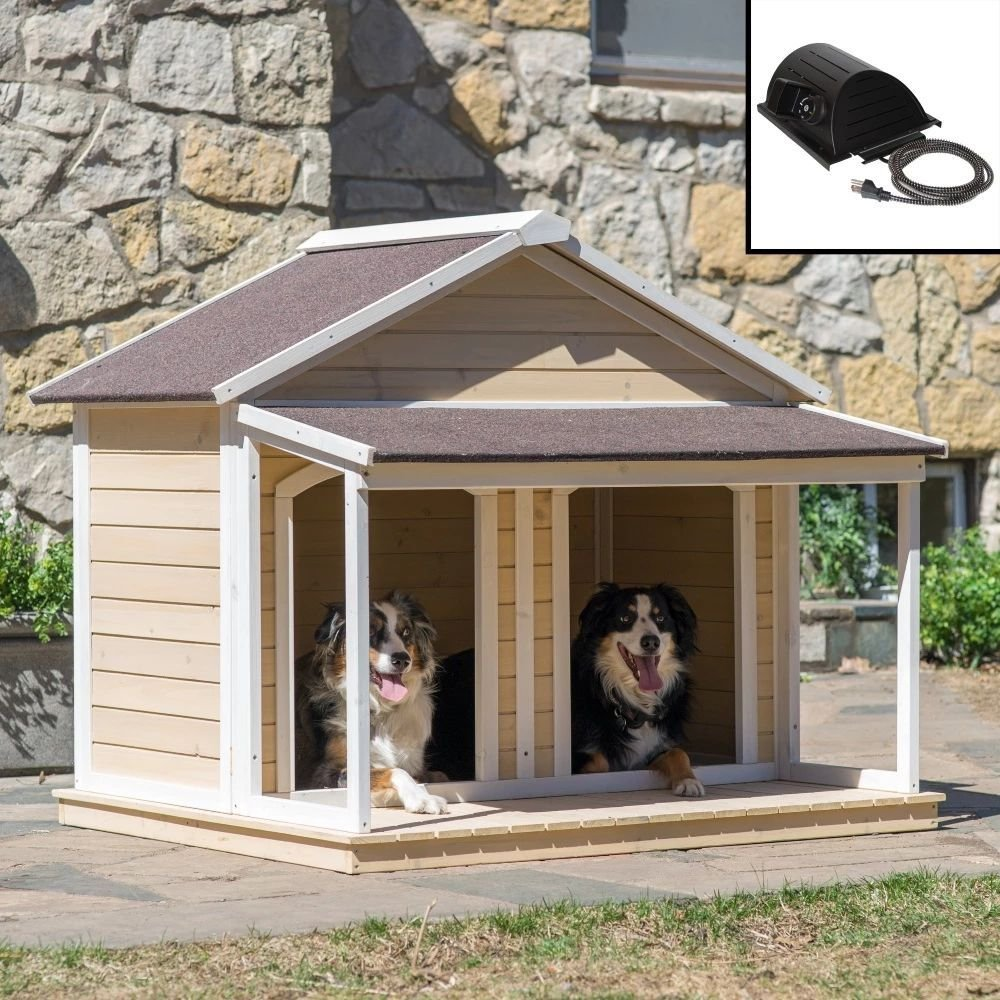 HEATED Fir Wood Duplex Dog House For Two Dogs or 1 Large Dog by Groomer
