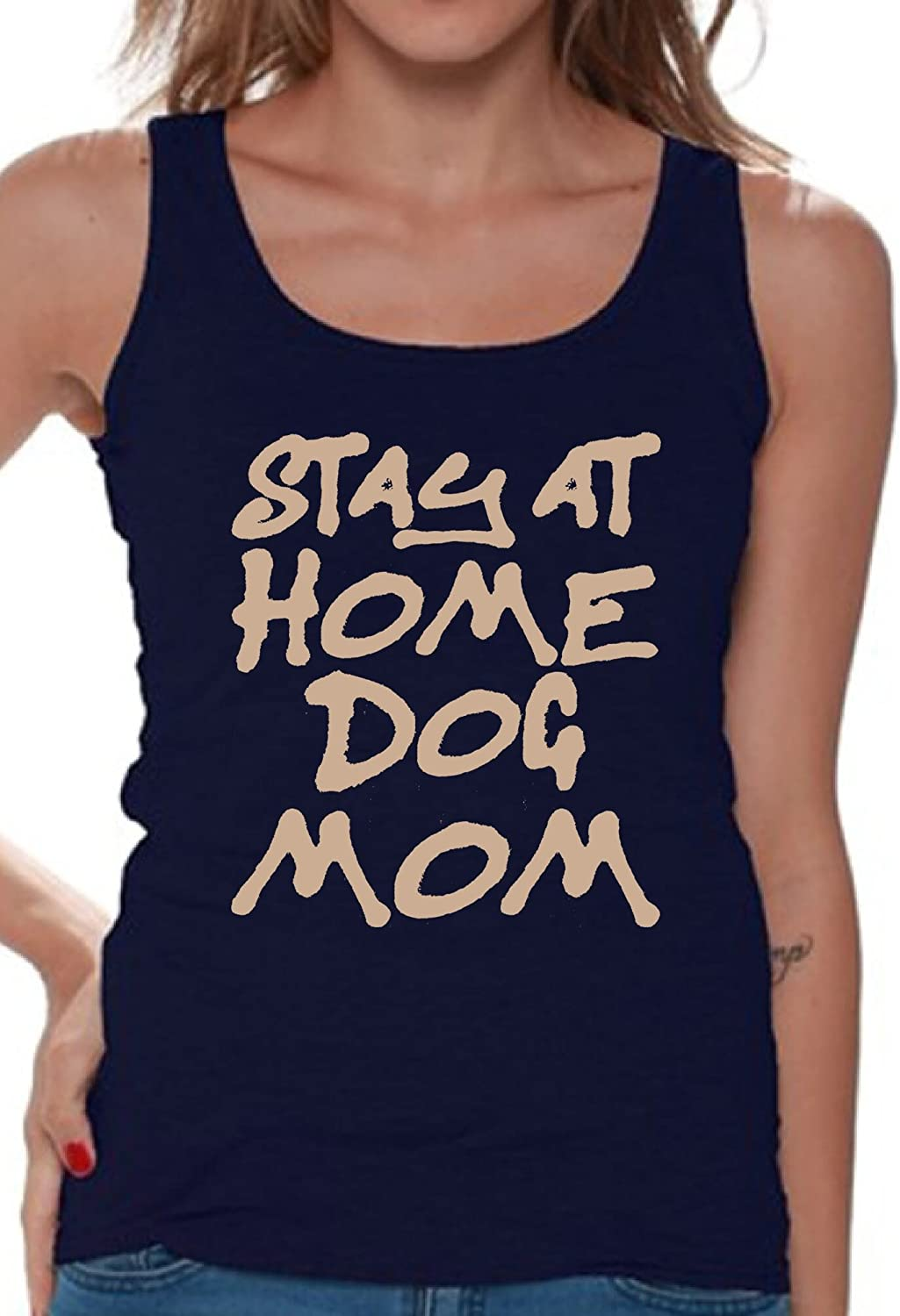 Awkward Styles Women's Stay at Home Dog Mom Graphic Tank Tops for Dog Lovers