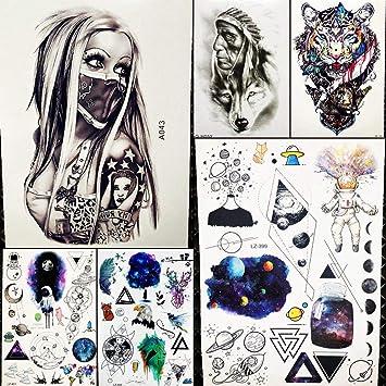 6 Hojas GáNgster Negro Tatuajes Temporales Mujeres Hombres ...