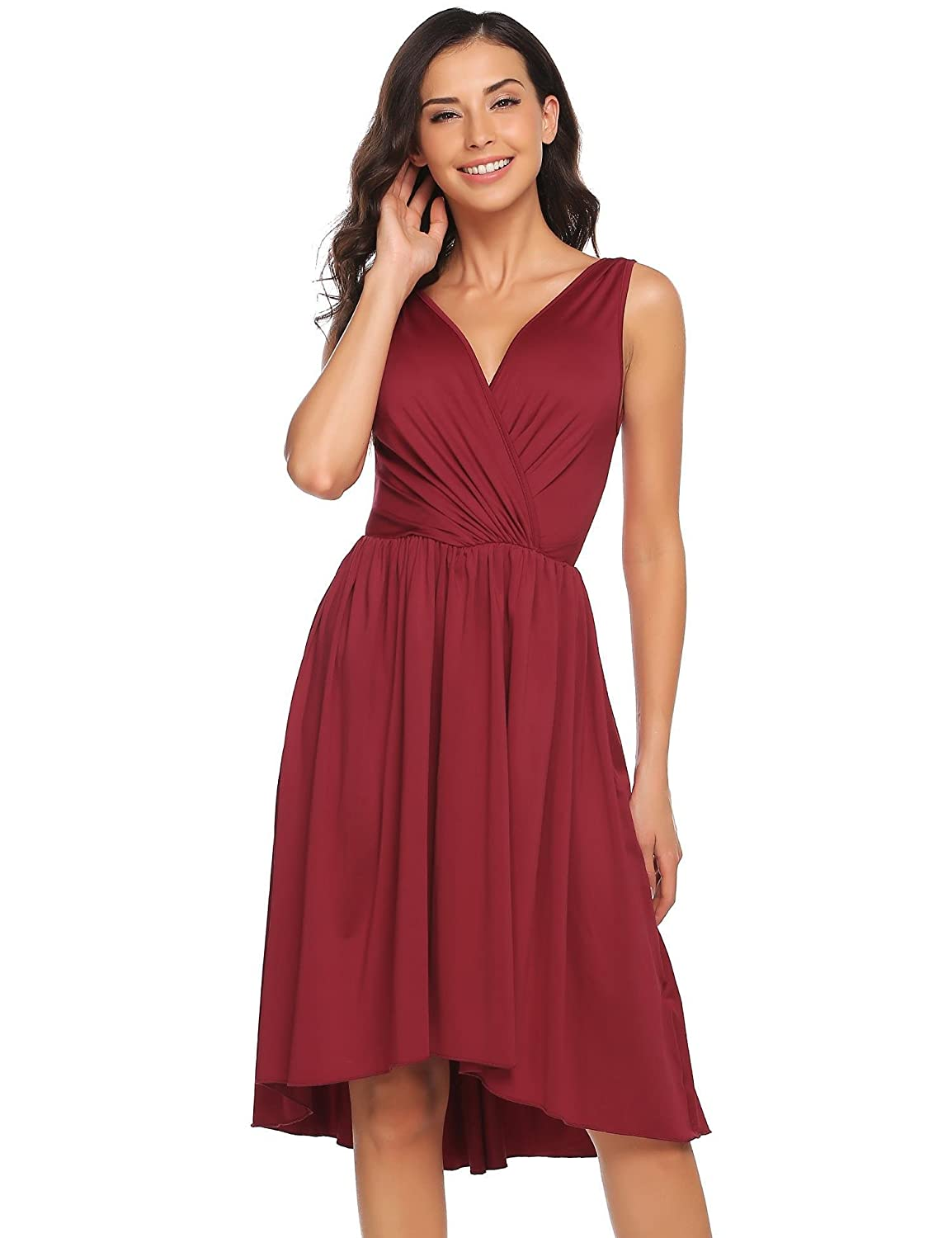 92c49ee3e27d Amazon.com  ANGVNS Women s Summer Sleeveless V Neck Pleated Party Cocktail  High-Low Swing Dress Wine Red XL  Clothing