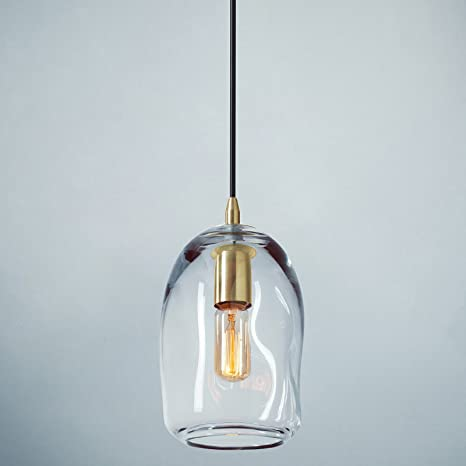 199188d46c45 Casamotion Pendant Lighting Handblown Glass Drop ceiling lights, Organic  Contemporary Style Hanging Light, Clear