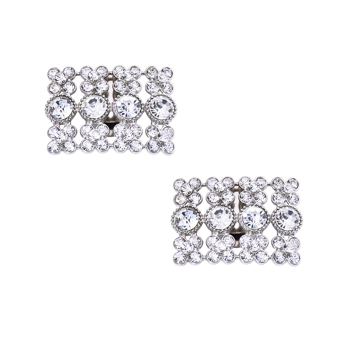 ElegantPark AX 2 Pcs Shoe Clips Rhinestones Wedding Party Decoration Silver