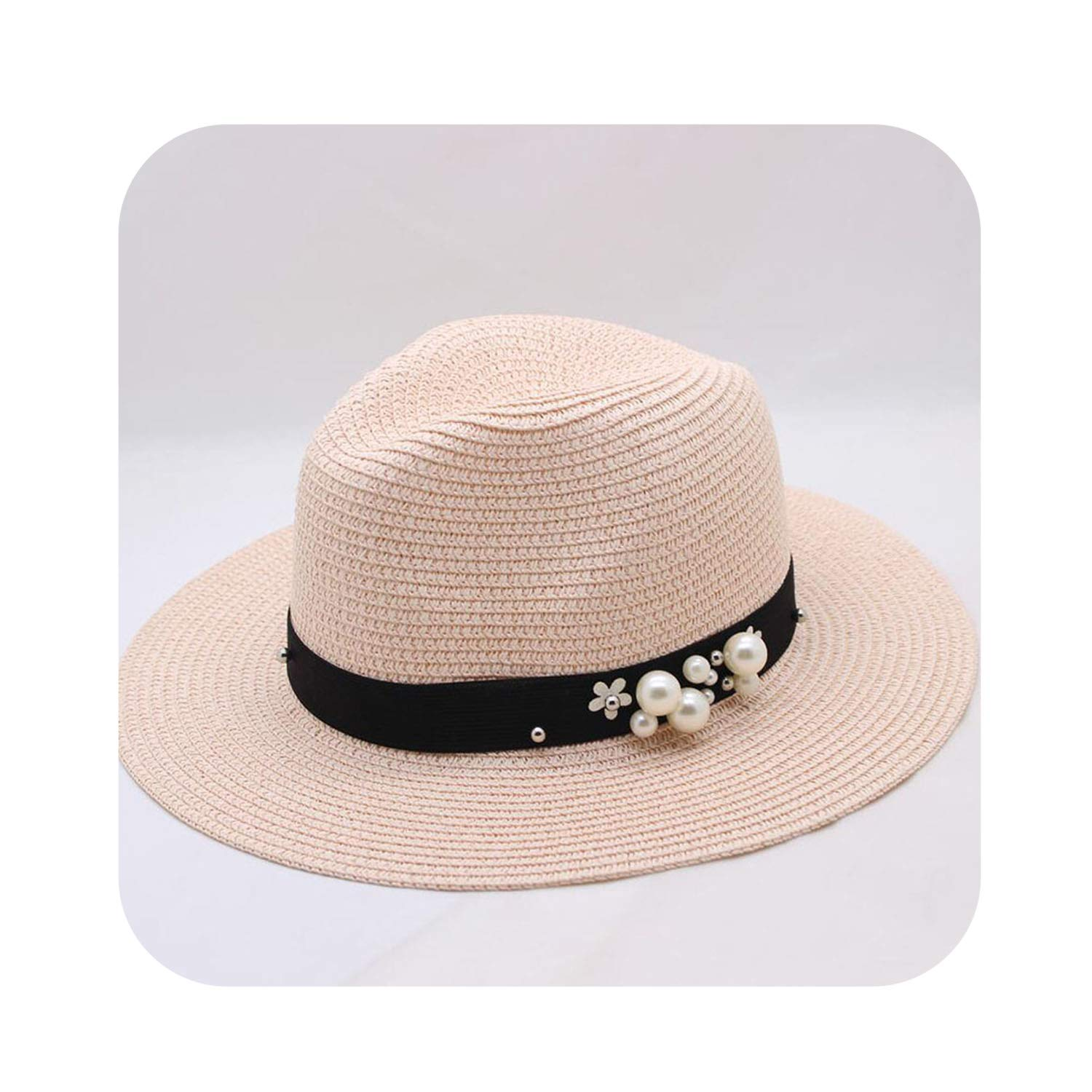 Pink Flower Beads WideBrimmed Jazz Panama Hat Chapeu Feminino Sun Predection Beach Cap