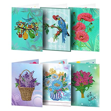 Broadroot 6 Tarjetas de felicitación, DIY, Diamante, Pintura, Bordado, día de Fiesta, cumpleaños, Tarjetas Postales, Regalo, artesanía