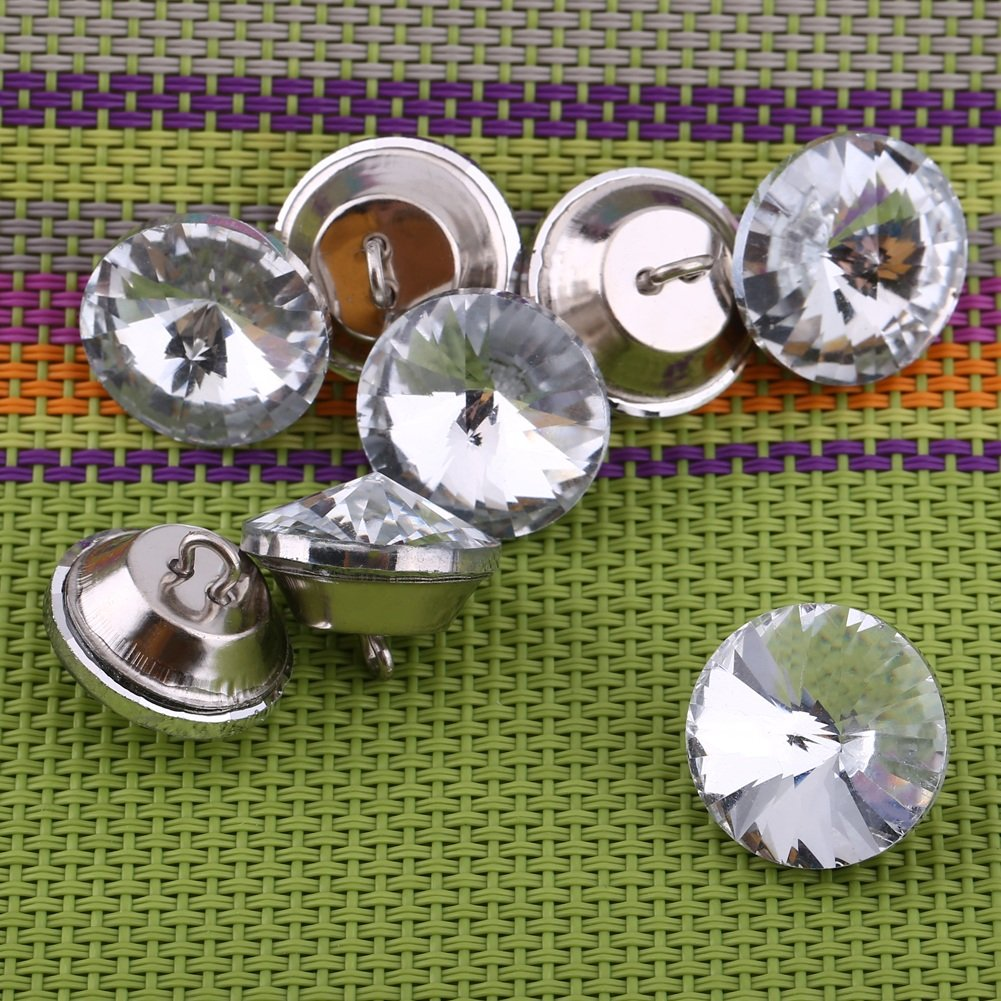 0.79 Rhinestone Crystal Round Buttons with Metal Loop for Sewing Sofa Bed Headboard Upholstery Button DIY Crafts Decoration Pack of 50 Yosoo Crystal Upholstery Buttons