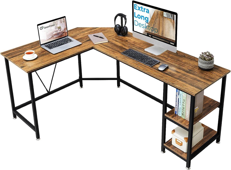 GreenForest L Shaped Corner Desk 65.7 inch with Storage Shelf Long Gaming Desk for Home Office PC Workstation Saving Space Laptop Table, Walnut