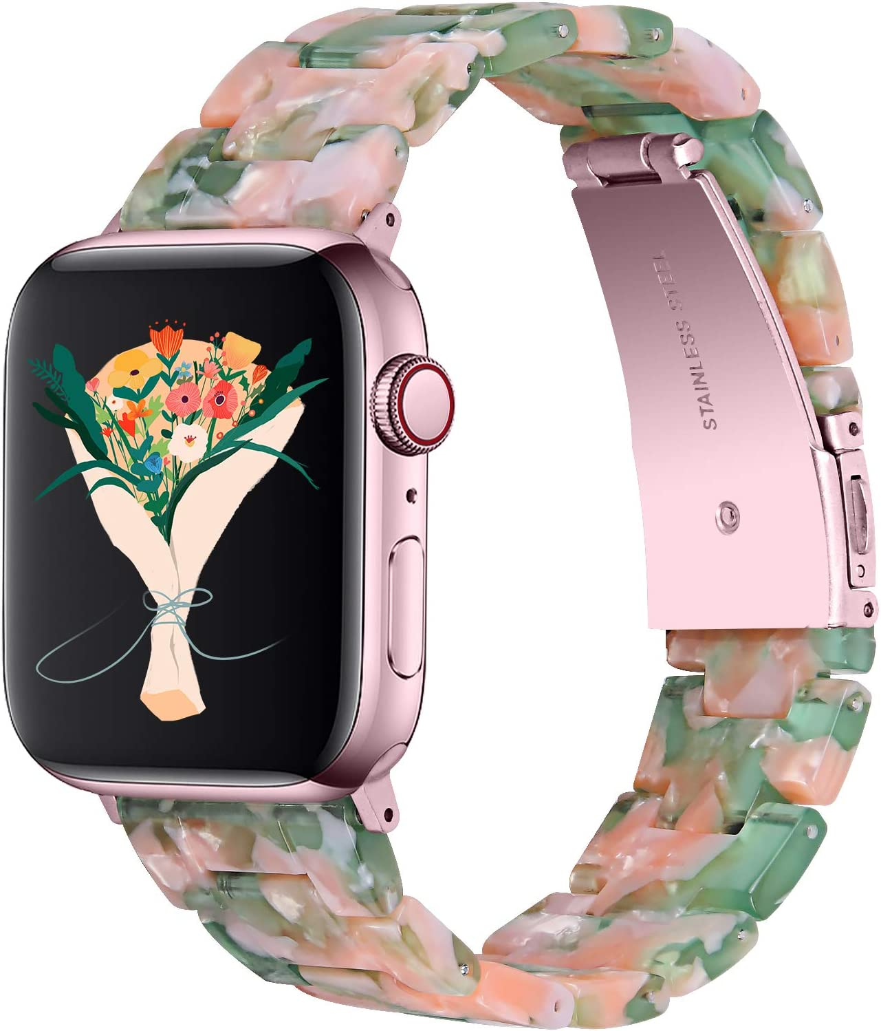 Apple Watch Bands,Fashion Resin iWatch Bands Bracelet Compatible with Stainless Steel Buckle for 40mm 38mm 44mm 42mm Apple Watch Series 6 / SE / 5/4, Series 3 2 1 (Pink Green, 38mm/40mm)