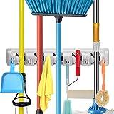 Soporte para escobas de fregona montado en la pared, organizador comercial para herramientas de jardín, cocina, cochera y lav