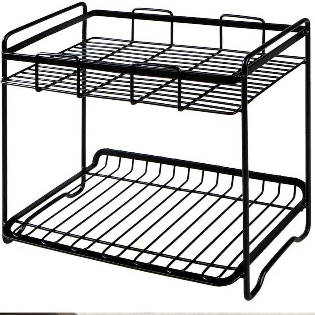 XY Soap dish Double Wrought Iron Storage Racks Kitchen Floor Stand Counter Spice Racks Bathroom Toiletries Storage Racks 26.5cm 24cm 17cm by XY Soap dish