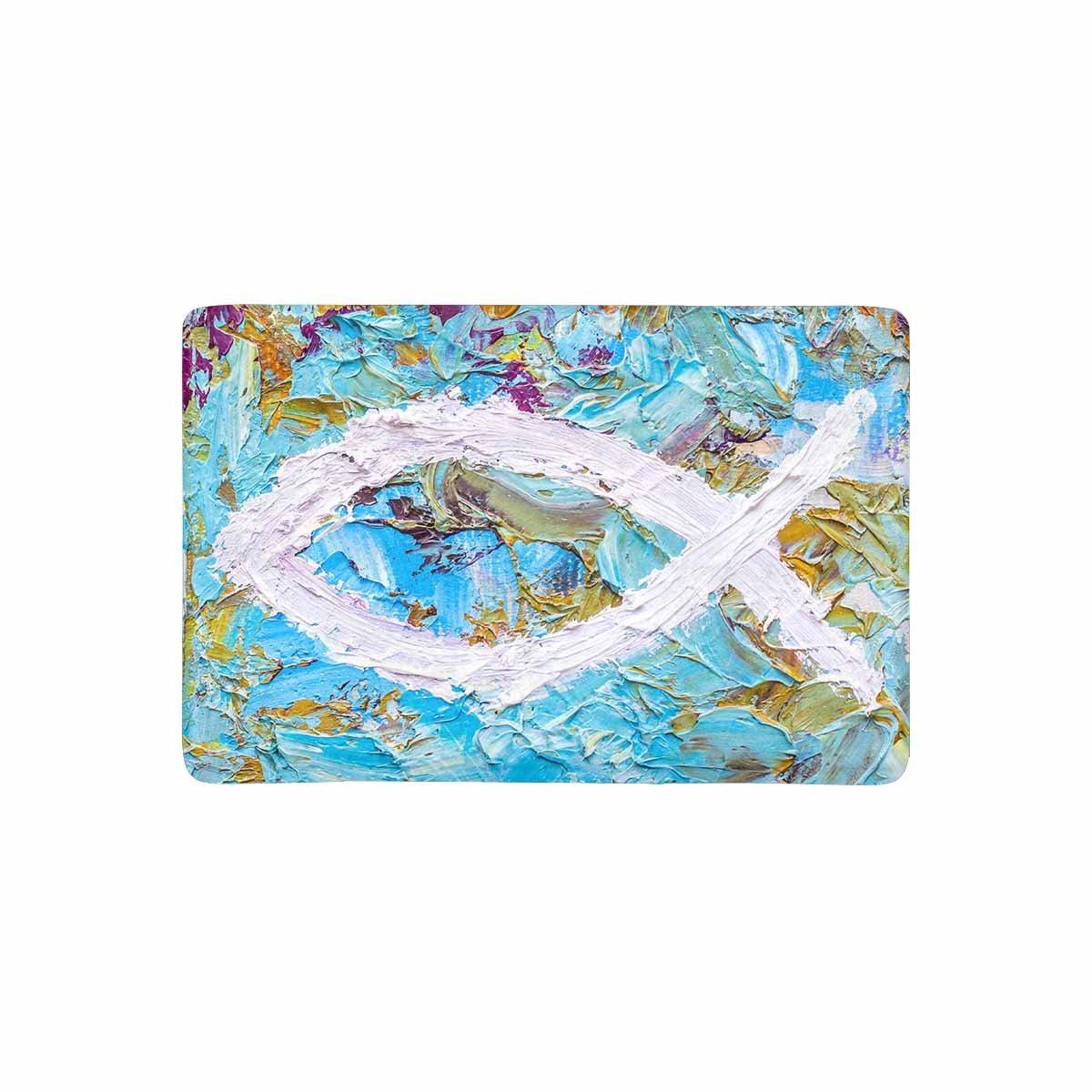 InterestPrint Colorful Christian Fish Christian Symbol Doormat Non Slip Indoor/Outdoor Doormat Floor Mat Home Decor, Entrance Rug Rubber Backing 23.6''(L) x 15.7''(W) by InterestPrint