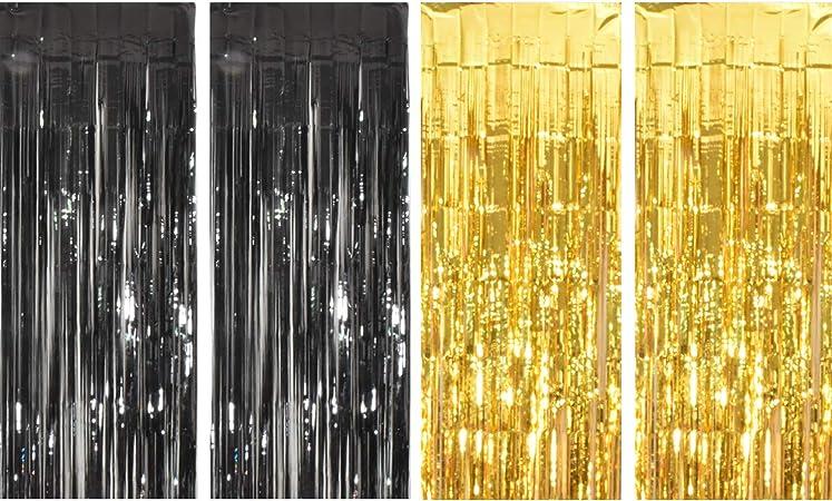 Paquete de 4 cortinas metálicas con flecos de papel de aluminio para decoración de puertas y ventanas de cumpleaños, bodas y fiestas: Amazon.es: Hogar