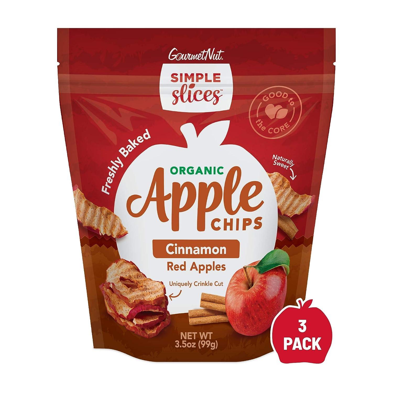 Gourmet Nut Simple Slices Organic Apple Chips (Organic Red & Cinnamon, 3pack)