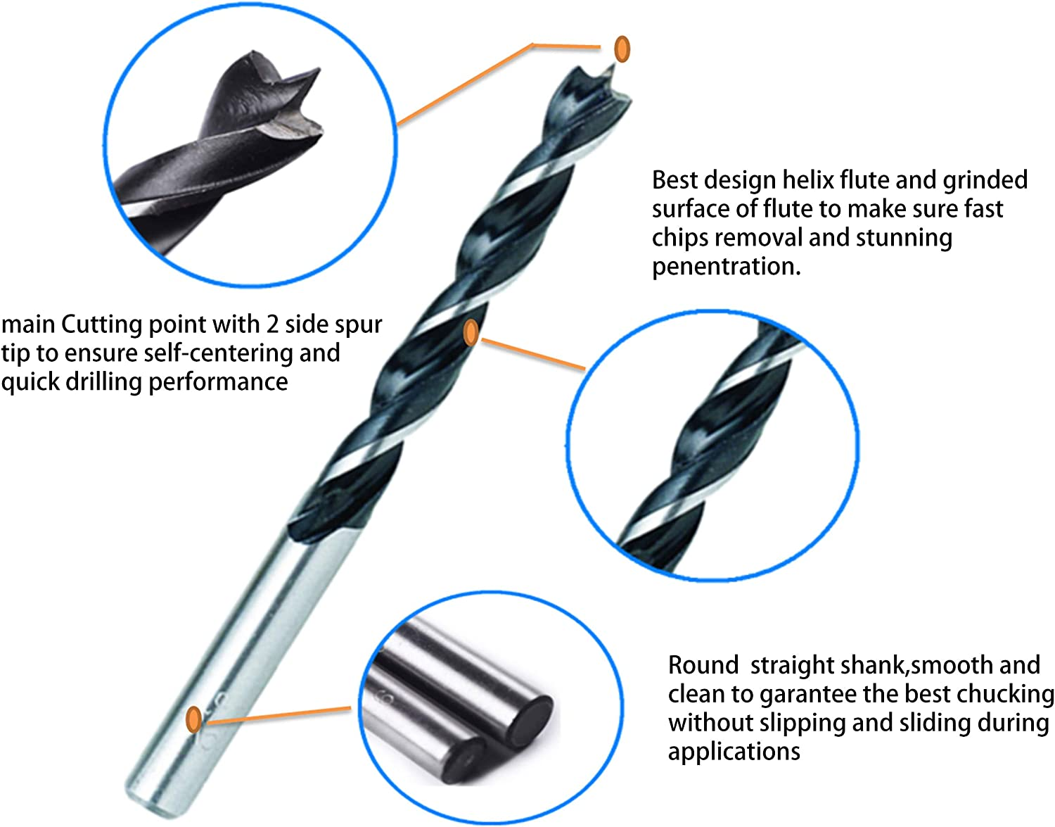 Softwood Cabinet 10Pcs 1//2 Inch Brad Point Wood Drill Bits Set Woodworking Drill Bit Side Spur Cutting Brad Point Drills Drill for Hardwood Furniture,cupboard,woodworkiing job. Polywood