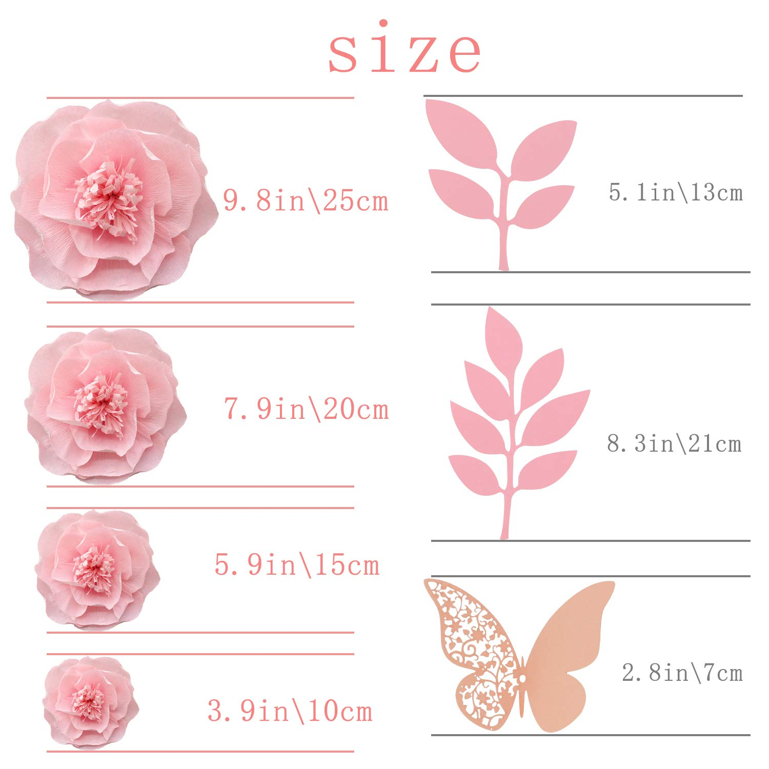 JulyLab Tissue Paper Flower Pink White Set of 13 Craft Crepe Wall Decor DIY Giant Decoration for Wall Baby Nursery Wedding Backdrop Bridal Shower Centerpiece Monogram