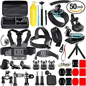 Navitech 50-in-1 Action Camera Accessories Combo KIt with EVA Case Compatible with The Sports Cam HD Action Camera 1080p