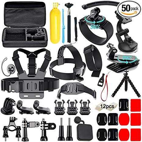 c4ac74bca1 Soft Digits 50 in 1 Action Camera Accessories Kit for GoPro Hero Accessory  Bundle kit for