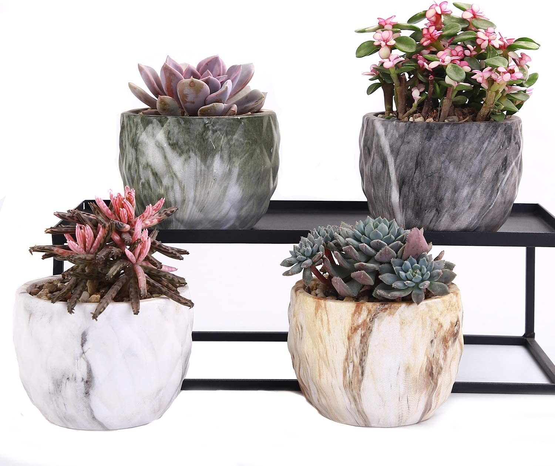 Amazon Com Winemana Set Of 4 Modern Style Marbling Ceramic Flower