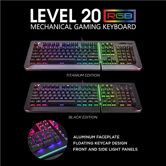 027279adf01 Amazon.com: Thermaltake Level 20 RGB Black Aluminum Gaming Keyboard Cherry  MX Silver Switches, 16.8M Color RGB, 32 Color Zone Options, Support Alexa  Voice ...