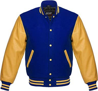 Varsity Royal Blue Letterman Men Wool Jacket with yellow Real Leather Sleeves
