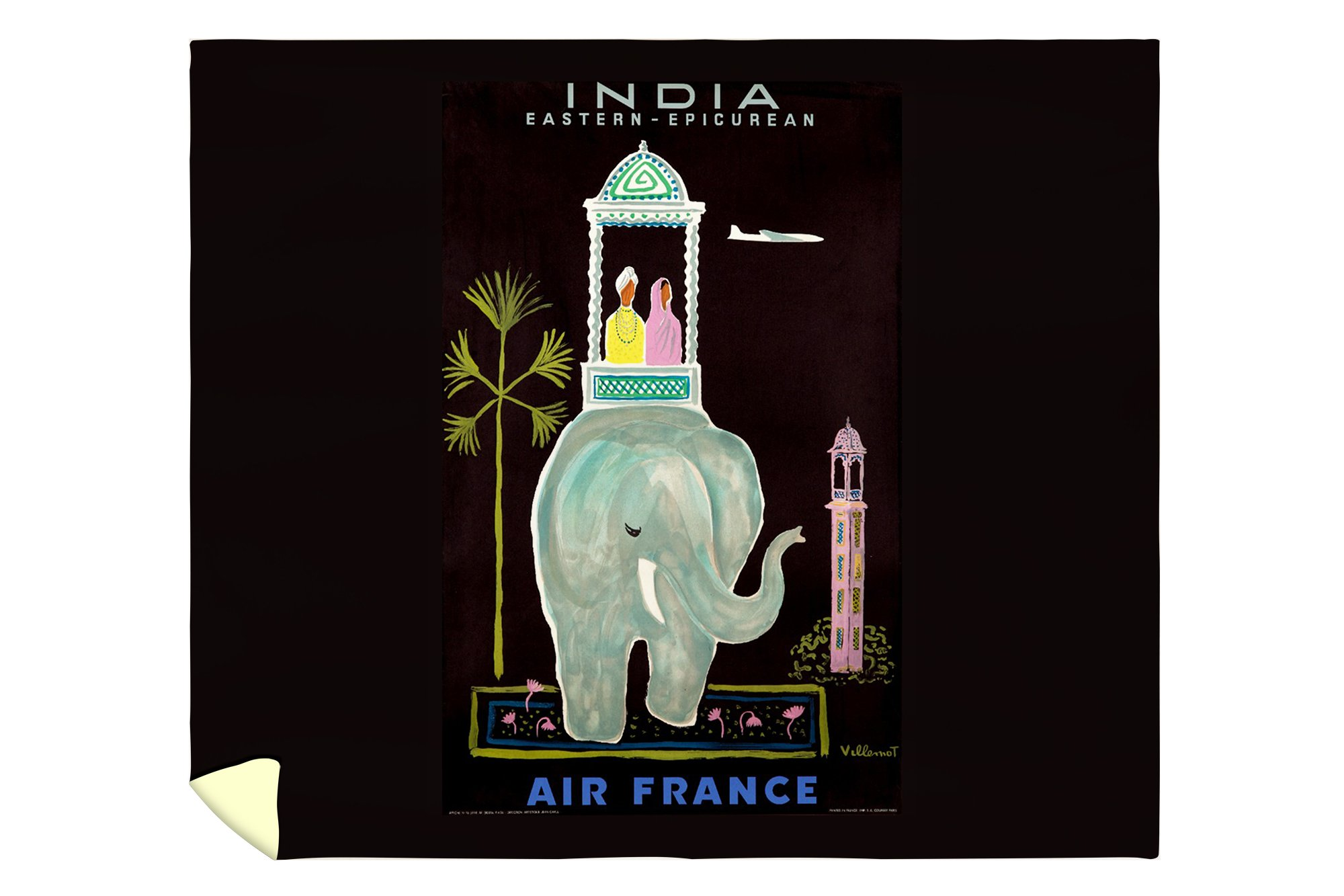 Air France India Vintage Poster (artist: Villemot, Bernard) France c. 1956 (88x104 King Microfiber Duvet Cover)
