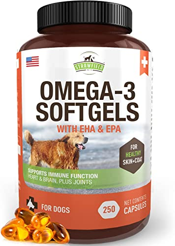 Omega 3 Fish Oil for Dogs, 250 Softgel Pills, 1000 mg EPA DHA Dog Fish Oil Pet Supplement for Joint Support Arthritis Pain Relief, Allergy Itch, Shedding, Healthy Coat, Dry Itching Skin, Hot Spot, USA