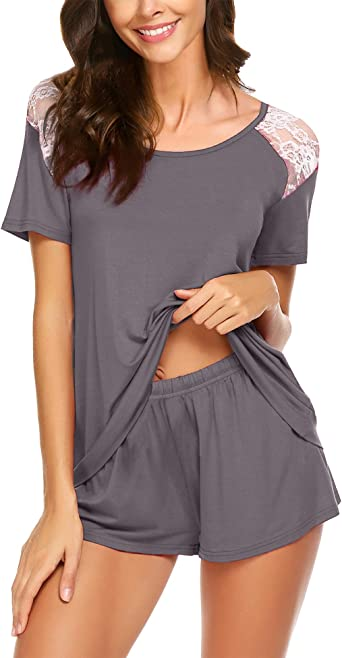 Men Pajama Set Nightwear Short Sleeve Tops with Elastic Waist Shorts Pajamas Sets