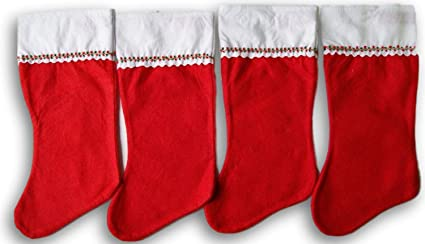 holiday time red felt christmas stocking set of 4 - Decorating Christmas Stockings