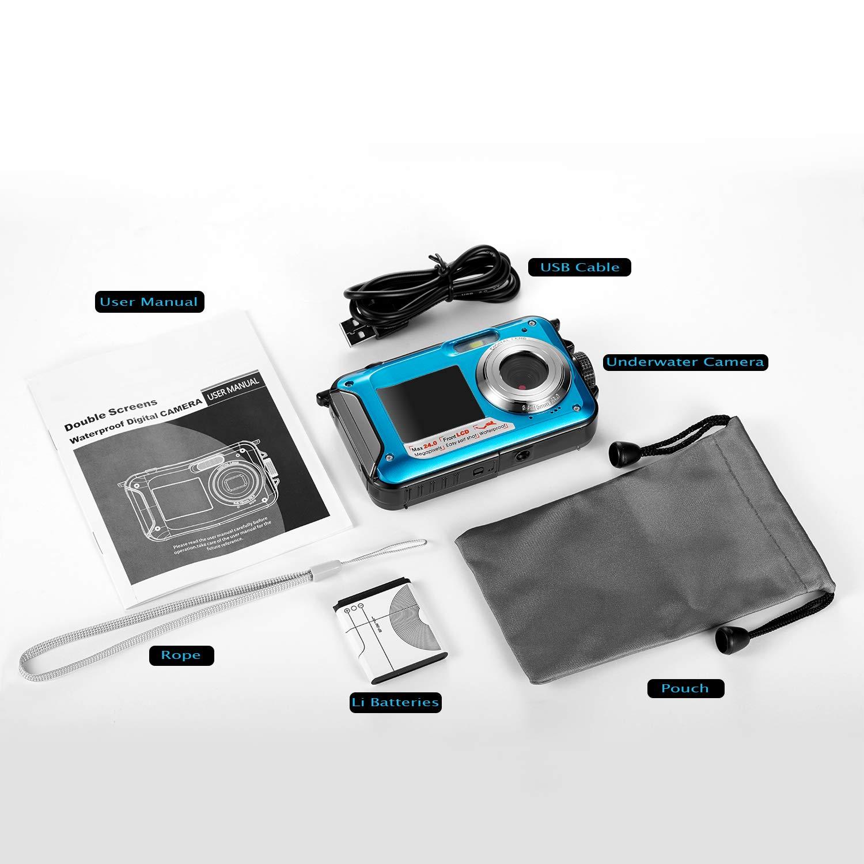 Waterproof Digital Camera Full HD 1080P Underwater Camera 24MP Video Recorder Camcorder Point and Shoot Camera Selfie Dual Screen Waterproof Camera for Snorkeling by HOCOMO (Image #6)