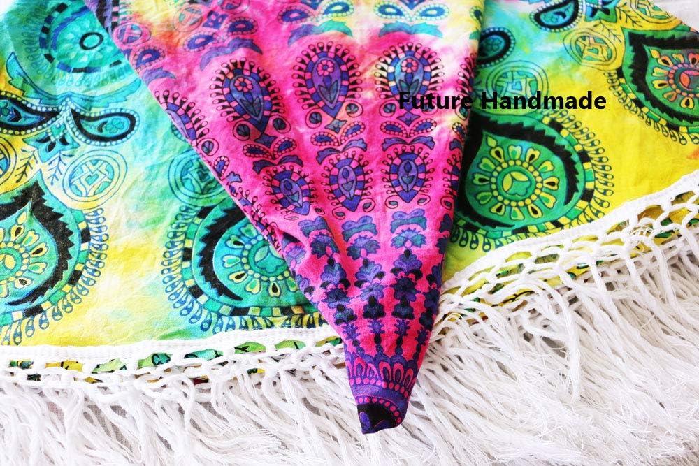 FUTURE HANDMADE 72  Zoll Mehrfarbig Runder Mandala Wandteppich Indisch Hippie Boho Baumwoll Tischdecke Strandmatte Wohnkultur