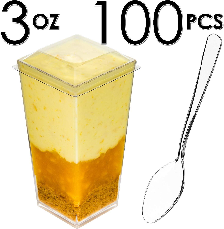 DLux 100 x 3 oz Mini vasos de postre con cucharas y tapas, cuadrado alto, de plástico transparente para aperitivos, pequeño cuenco desechable reutilizable para servir postres, aperitivos