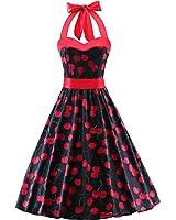 LUOUSE Vintage Damen Rockabilly 50er Polka Dots Kleid