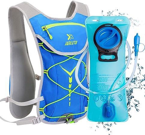 BTNEEU Mochila de Hidratación Ligero, Mochila con Bolsa de Agua 2L para Mujer Hombre, 6L Respirable Unisex Mochilas Trail Running para Correr, ...