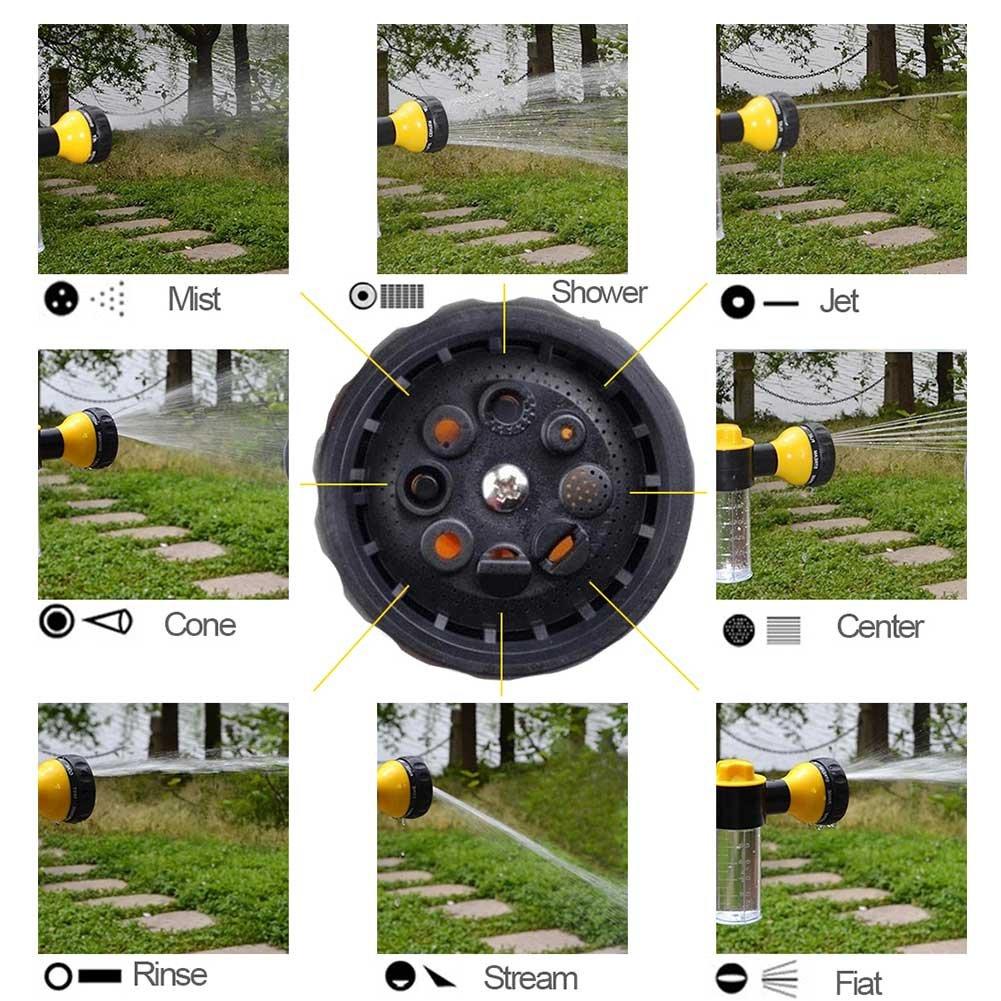 Pulv/érisateur de buse de tuyau de jardin Pistolet de lavage de voiture avec adaptateur 4pcs pistolet de pulv/érisation de mousse haute pression Pistolet de lavage de mousse r/églable