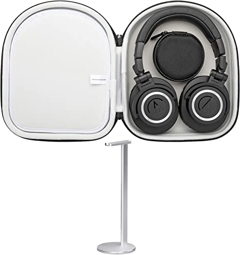 Audio Technica ATH-M50xBT Wireless Over-Ear Headphones Bundle with Knox Protective Headphone Case and Aluminum Stand 3 Items