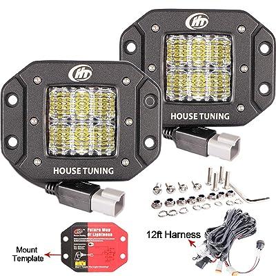 House Tuning 2x 30W Flush Mount LED Pods Light with Wiring Harness 12V Flood LED Fog Lights Flush Mount for Jeep Trucks bumper mount (Pack of 2): Automotive