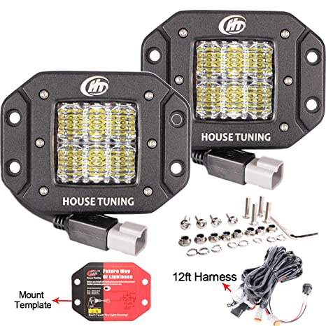house tuning 2x 30w flush mount led pods light with wiring harness 12v flood led fog lights flush mount for jeep trucks bumper mount (pack of 2) Electrical Harness
