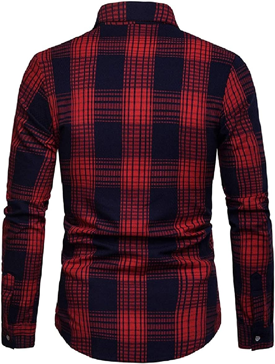 Abetteric Men Plus-Size Plaid Pattern Square Collor Long Sleeve Shirt