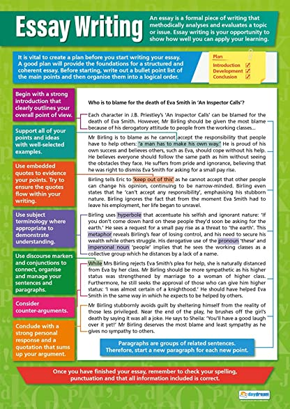 Essay Writing Poster|English Language Chart For All Students, Glossy Paper  Measuring 33u201d